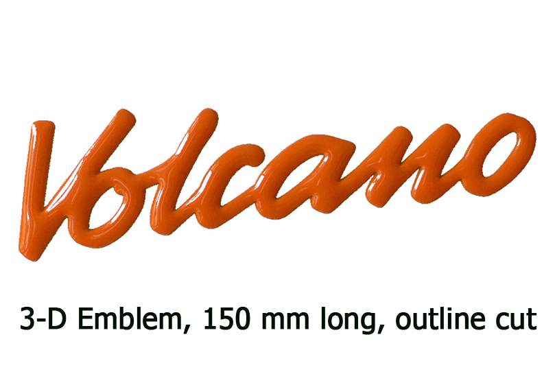 3-D Emblem VOLCANO, 6 inch (150 mm), outline cut